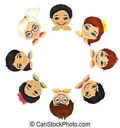 multi, gruppo, bambini, etnico