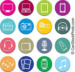 multi-media, icona, rotondo, serie