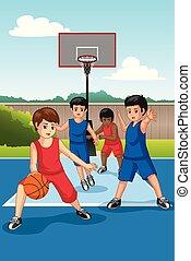 multi, pallacanestro, gruppo, illustrazione, bambini, etnico, gioco