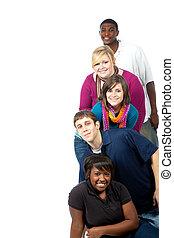 multi-razziale, studenti, bianco, università