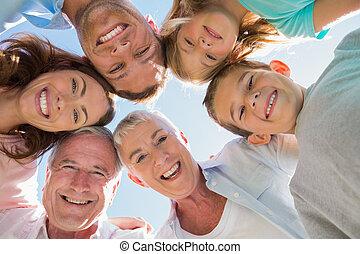 multi, sorridente, generazione, famiglia