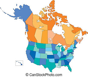 multi, stati, canada, stati uniti, colori, province