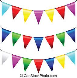 multi, vettore, bandiere, colorato, triangolare