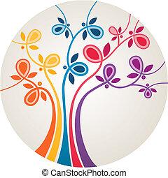 multicolor, albero, astratto