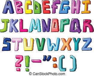 multicolor, lettere