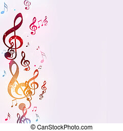 multicolor, note, musica, luminoso