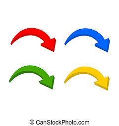 multicolor, set, freccia, 3d