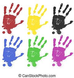multicolore, stampe, mano