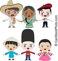 multicultural, bambini, illustrazione