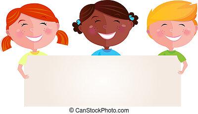 multicultural, bandiera, bambini
