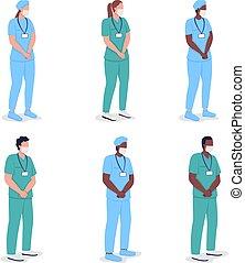 multicultural, dottori colorano, set, appartamento, faceless, carattere, vettore