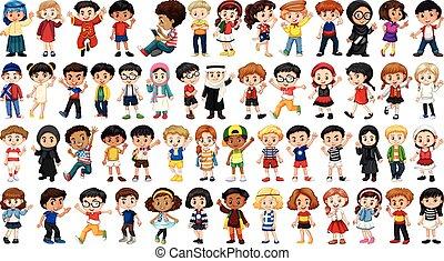 multicultural, set, carattere