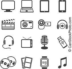 multimedia, icona, serie