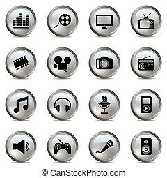multimedia, set, argento, icone