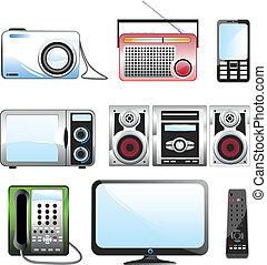 multimedia, set, icona