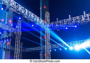 multiplo, teatro, illuminazione, riflettori, palcoscenico, autotreno