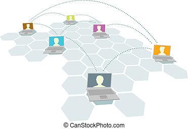 multiplo, utenti, persone, /, rete computer