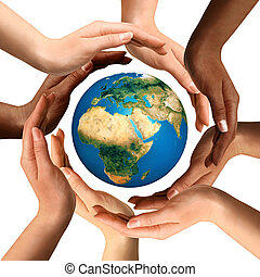 multirazziale, circondare, globo, terra, mani