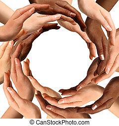 multirazziale, fabbricazione, cerchio, mani