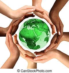 multirazziale, globo terra, intorno, mani