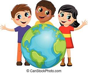 multirazziale, terra, bambini, bambini, isolato