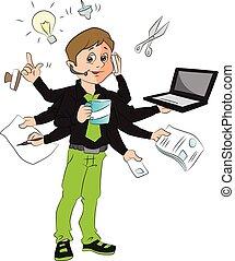 multitasking, ufficio., vettore, uomo
