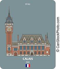 municipio, francia, calais