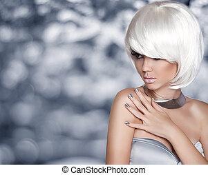 muovere a scatti, moda, bellezza, girl., hair., porto, hairstyle., biondo, corto, bianco