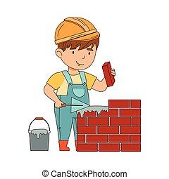 muratore, ragazzo, vettore, poco, lavoro duro, illustrazione, costruttore, il portare, cappello