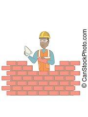 muratore, spatola, giovane, lavorativo, brick.