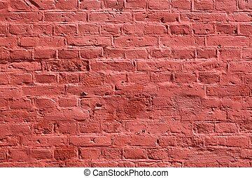 muro di mattoni, fondo, struttura, rosso