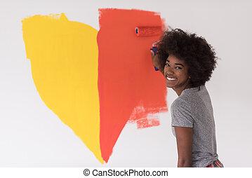 muro dipinto, donna, nero