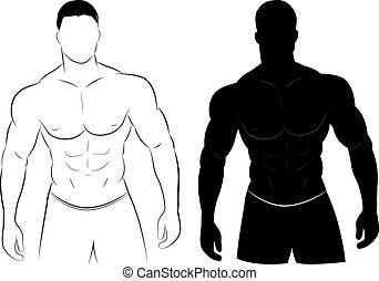 muscolo, silhouette, uomo
