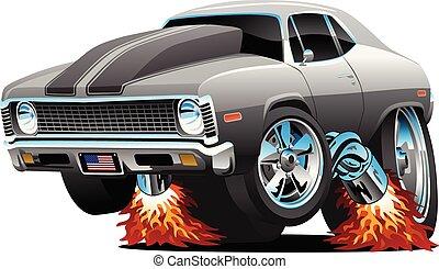 muscolo, vettore, caldo, cartone animato, isolato, verga, automobile, classico, americano, illustrazione
