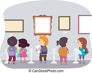 museo, bambini, arte