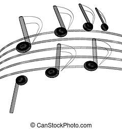 musica, 3d, illustrazione, note, fondo.