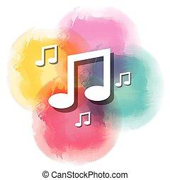 musica, acquarello, icona, isolato, disegno, note