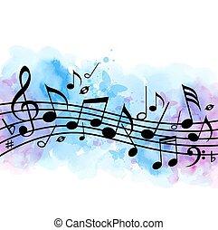 musica, acquarello, struttura, note, fondo, blu