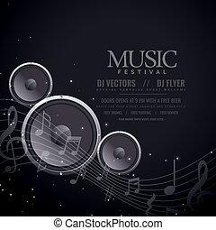 musica, altoparlanti, nero, manifesto, disegno