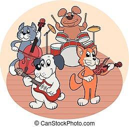 musica, animali, quartetto, gioco