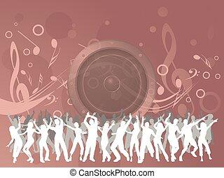 musica, ballo, fondo, rosa, persone
