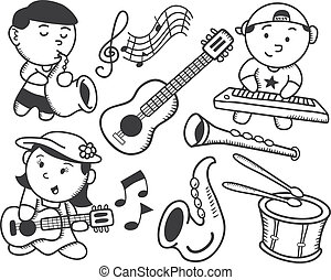 musica, bambini giocando