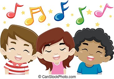 musica, canto, bambini, note