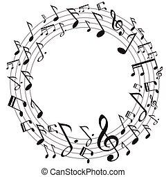 musica, cerchio, note