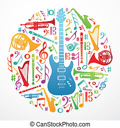 musica, concetto, amore, fondo, illustrazione