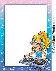 musica, cornice, dj, ragazza, cartone animato