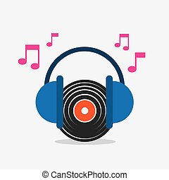 musica, disco, vinile, cuffie