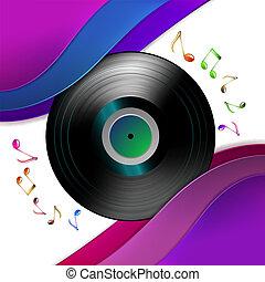 musica, disco, vinile, note