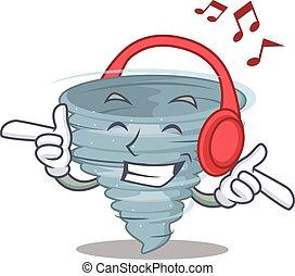 musica, disegno, concetto, cartone animato, tornado, ascolto
