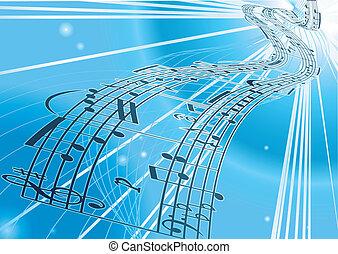 musica foglio, vettore, fondo